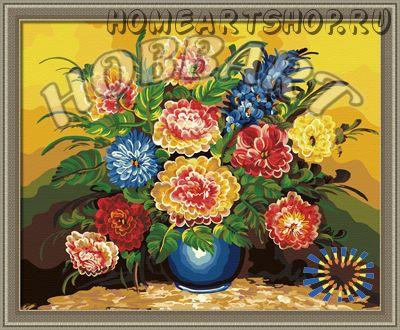 """Картина по номерам """"Букет в синей вазе"""""""
