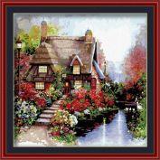 """Раскраска по номерам """"Дом в розовом саду"""""""