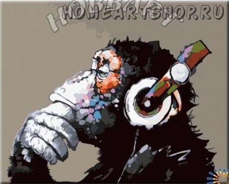 "Картина по номерам ""Monkey - Music. Мелодия мысли"""