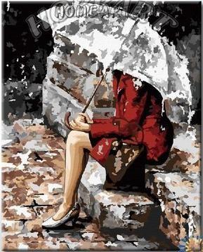 """Раскраска по номерам """"Под дождём"""""""