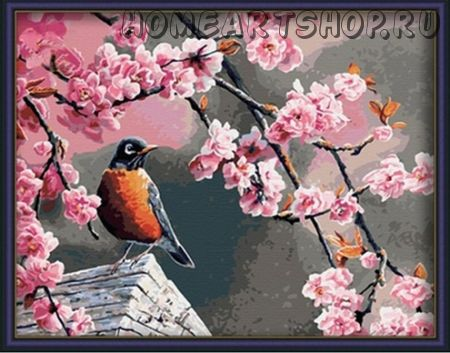 """Картина по номерам """"Цветущая вишня"""" 40х50"""
