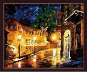 """Раскраска по номерам """"Улица после дождя"""" 40х50"""
