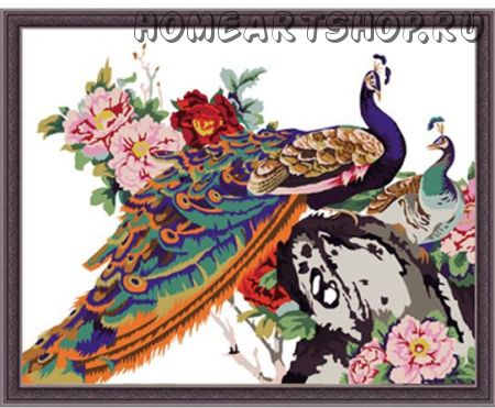 """Раскраска по номерам """"Китайские павлины"""" 40х50"""
